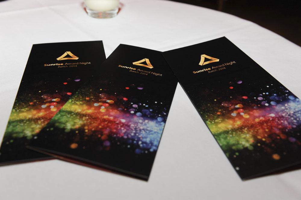 Mosaik Agentur Award-Verleihung Sunrise Mitarbeiteranlass Einladungsflyer