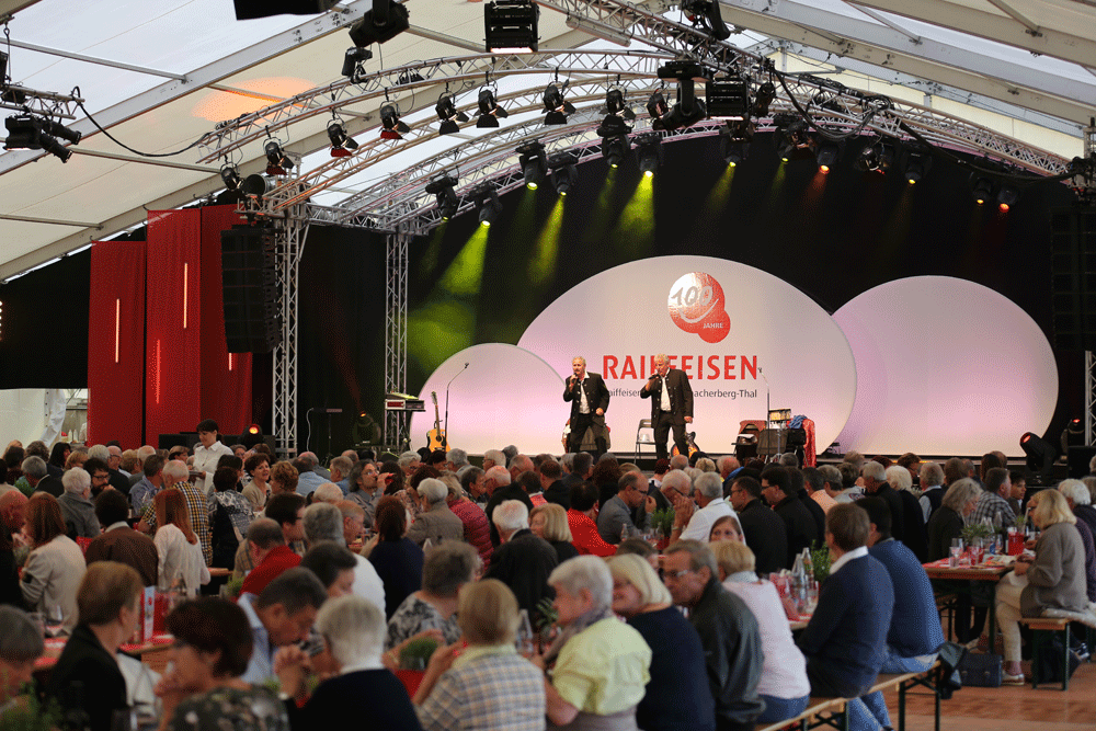 Mosaik Agentur Jubiläumsanlass für die Raiffeisenbank Abendprogramm
